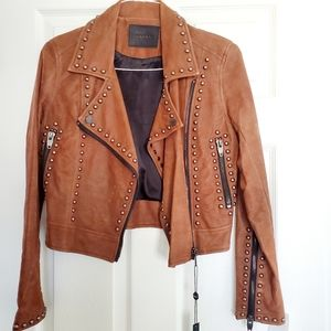 NEW BLANK NYC moto jacket Studded Brown